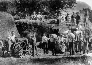 Cséplés Göllében 1941-ben
