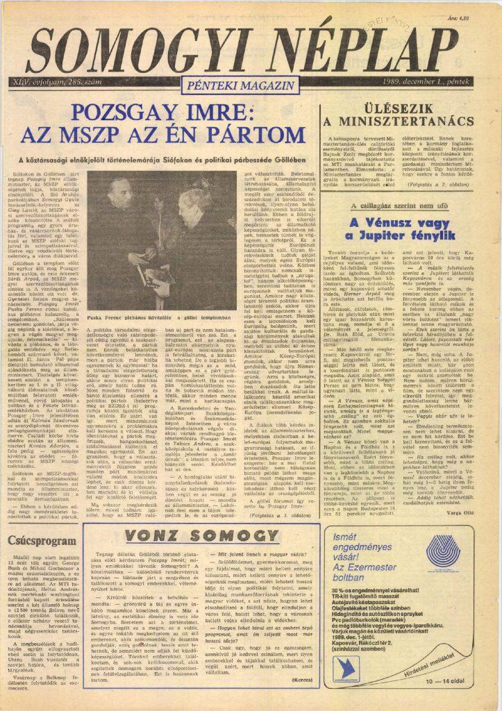 Forrás: Somogyi Néplap, 1989. december 1.